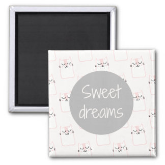 Fluffy Marshmallow Kitty in Pink | Sweet Dreams Magnet
