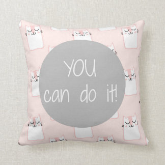 Fluffy Marshmallow Kitty in Pink | You Can Do It Cushion