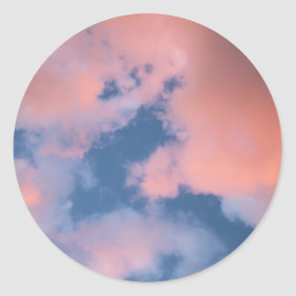 Fluffy Peach Clouds at Sunset Classic Round Sticker