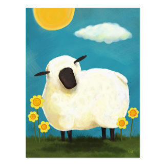Fluffy Sheep and Yellow Flowers Postcard