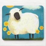Fluffy Sheep & Yellow Flowers Mousepad