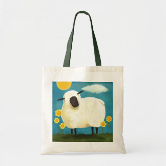 Fluffy Sheep & Yellow Flowers Tote Bag
