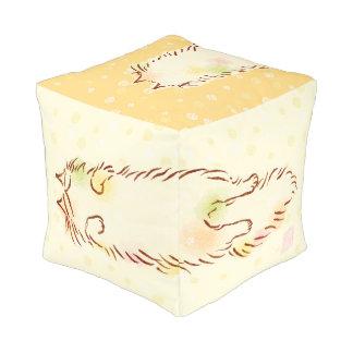 "Fluffy Sleepy Cat (13"") Cube Pouffe"