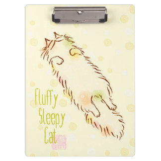 Fluffy Sleepy Cat Clipboard