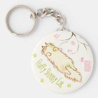 Fluffy Sleepy Cat Plum blossom Key Ring