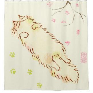 Fluffy Sleepy Cat Plum blossom Shower Curtain