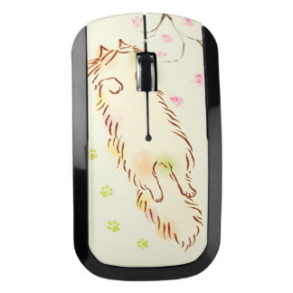 Fluffy Sleepy Cat Plum blossom Wireless Mouse