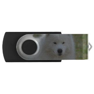 Fluffy White American Eskimo Dog Swivel USB 2.0 Flash Drive