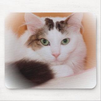 FLUFFY WHITE CAT MOUSEPAD