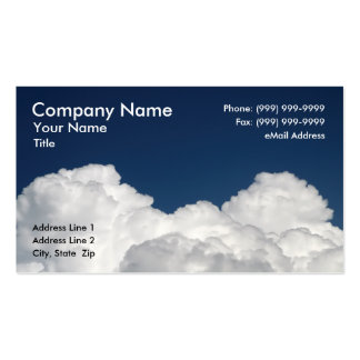 Fluffy White Clouds Against Clear Blue Sky Business Card