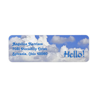 FLUFFY WHITE CLOUDS IN BLUE SKY RETURN ADDRESS LAB RETURN ADDRESS LABEL
