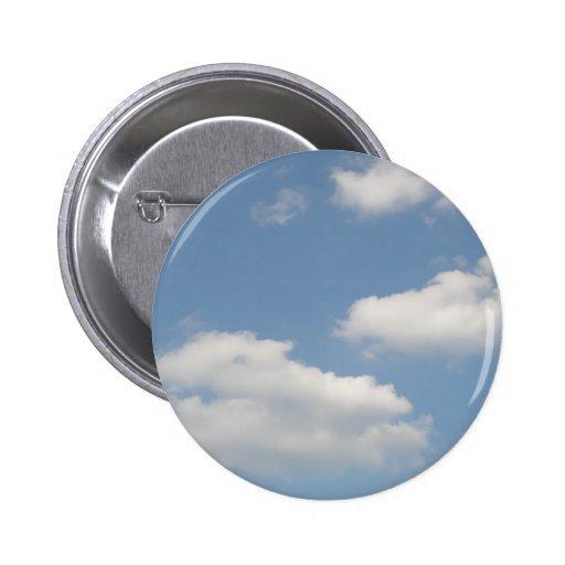 Fluffy White Cumulus Clouds Button