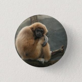 Fluffy white-handed lar gibbon 3 cm round badge
