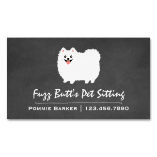 Fluffy White Pomeranian Magnetic Business Cards