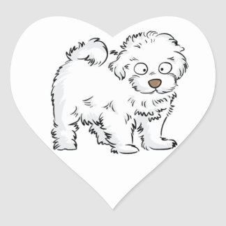 Fluffy White Puppy Heart Sticker