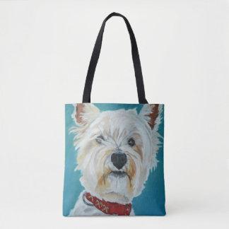 Fluffy White Westie Dog Tote Bag