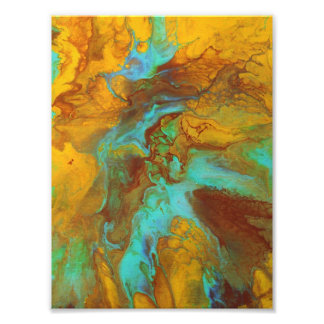 Fluid abstract in teal and yellow photo print