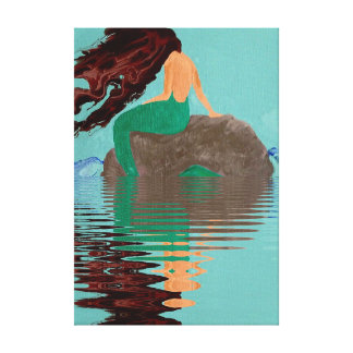 Fluid Abstract Mermaid Rock Water Wrapped Canvas