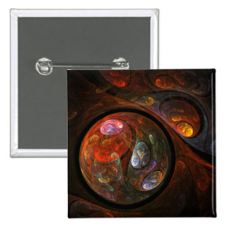 Fluid Connection Abstract Art Button (square)