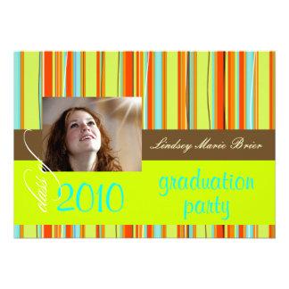 Fluorescent Beach Towel/orange/lime Custom Invitations