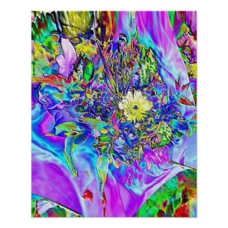 Fluorescent Blue, Lavender & Yellow Floral Poster