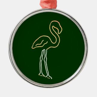 Fluorescent Flamingo Metal Ornament