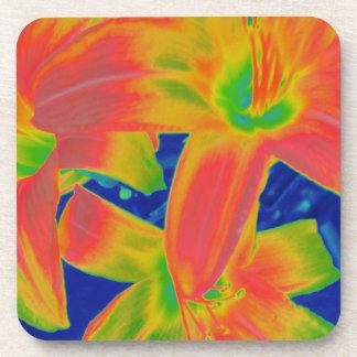fluorescent flowers coasters