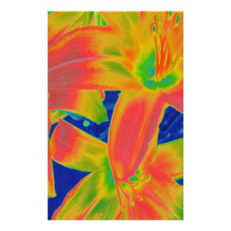 fluorescent flowers stationery