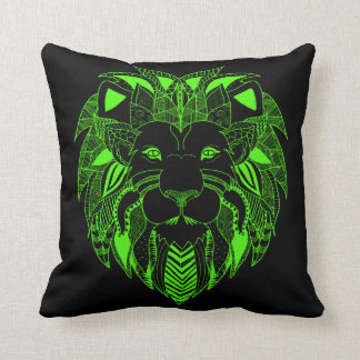 Fluorescent Green and Black Lion Cushion
