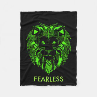 Fluorescent Green and Black Lion With Custom Text Fleece Blanket