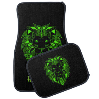 Fluorescent Green and Black Lion With Custom Text Floor Mat
