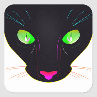 Fluorescent Green Cat Eyes Portrait Square Sticker