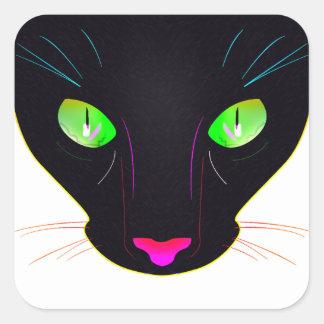 Fluorescent Green Cat Eyes Portrait Square Sticker