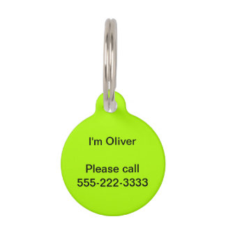 Fluorescent Green Solid Color Pet Tag