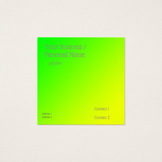 fluorescent green-yellow gradient square business card
