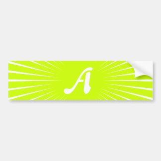 Fluorescent Yellow and White Sunrays Monogram Bumper Sticker