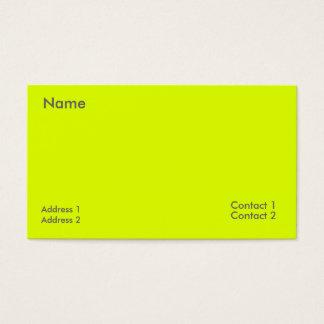 fluorescent yellow business card