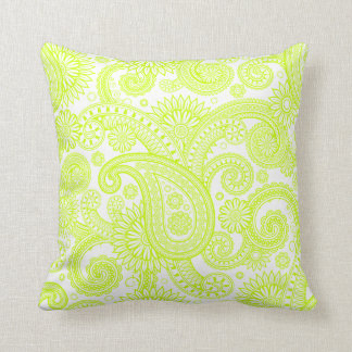 Fluorescent Yellow Paisley Floral Swirl Cushion