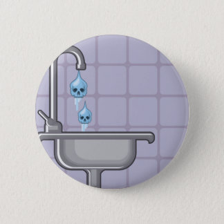 Fluoride water poison 6 cm round badge