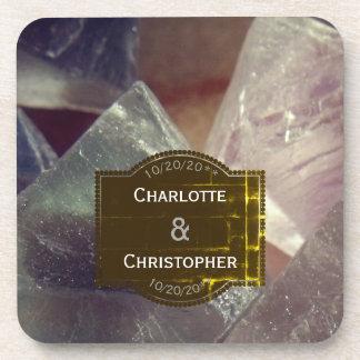 Fluorite Gemstone Personalized Wedding Coaster