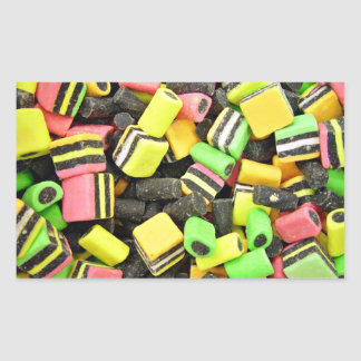 Fluro-coloured liquorice rectangular sticker