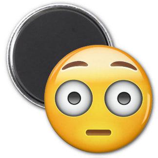 Flushed Face Emoji 6 Cm Round Magnet
