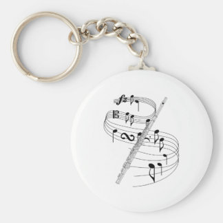 Flute Basic Round Button Key Ring