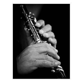 Flute being played in black and white by gypsy postcard