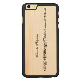 Flute Line Drawing, Customizable Name Carved Maple iPhone 6 Plus Case