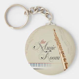 Flute Music Room Key Ring