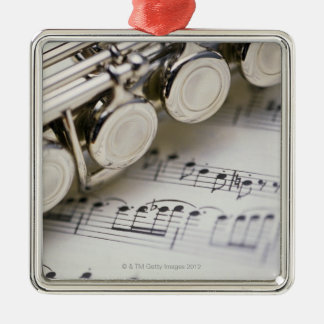 Flute on Sheet Music Ornament