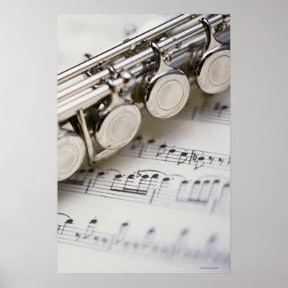 Flute on Sheet Music Poster
