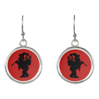 Flute Player Santa Earrings
