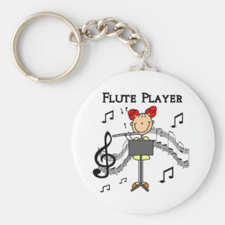 Flute Player T-shirts and Gifts Basic Round Button Key Ring